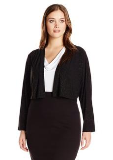 Calvin Klein Women's Plus Size Shimmer Long Sleeve Shrug