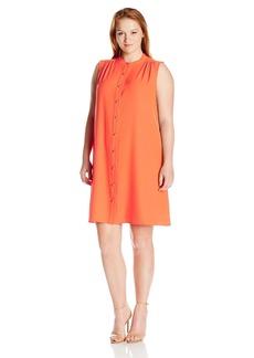 Calvin Klein Women's Plus Size Shirt Collar Button Front Crepe Trapeze Dress