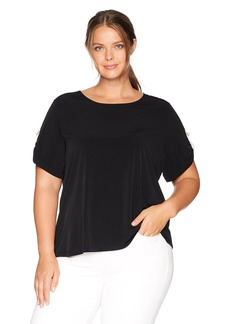 Calvin Klein Women's Plus Size Short D Ring ON Sleeve