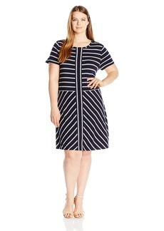 Calvin Klein Women's Plus Size Short-Sleeve Striped T-Shirt Dress  3X
