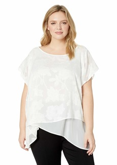 Calvin Klein Women's Plus Size Short Sleeve Woven Top
