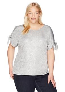 Calvin Klein Women's Plus Size Short TEE with TIE Sleeves