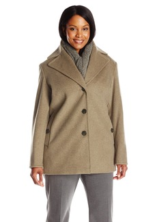 Calvin Klein Women's Plus Size Single Breated Wool Coat