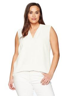 Calvin Klein Women's Plus Size S/L Crinkle Blouse