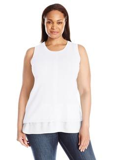 Calvin Klein Women's Plus Size S/L Sweater W/ Woven Bottom