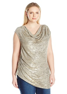 Calvin Klein Women's Plus Size S/l Top With Angle Bottom