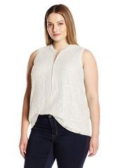 Calvin Klein Women's Plus Size S/L Top W/ Texture Lace
