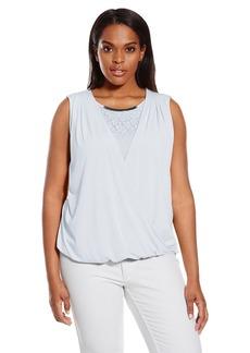 Calvin Klein Women's Plus Size S/l Wrap Top W/ Lace