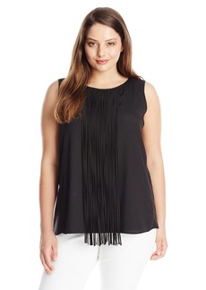 Calvin Klein Women's Plus-Size Sleeveless Fringe Blouse