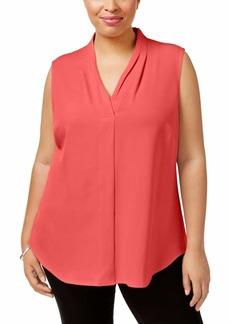 Calvin Klein Women's Plus Size Sleeveless Inverted Pleat Blouse