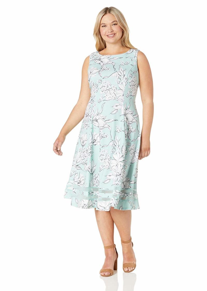 Calvin Klein Women's Plus Size Sleeveless Midi with Illusion Skirt Hemline
