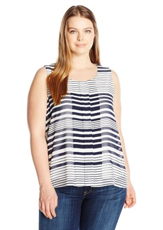 Calvin Klein Women's Plus Size Sleeveless Printed Blouse With Chiffon Overlay