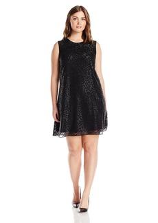 Calvin Klein Women's Plus Size Sleeveless Round Neck Trapeze Dress