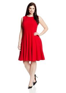 Calvin Klein Women's Plus-Size Sleeveless Solid Flare Dress