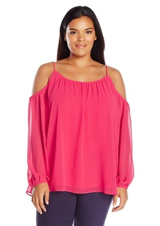 Calvin Klein Women's Plus Size Solid Long-Sleeved Off The Shoulder Top