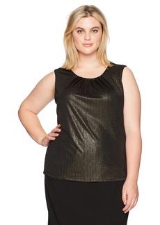 Calvin Klein Women's Plus Size Solid Pleat Neck Cami