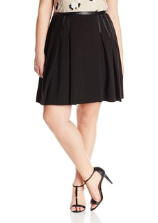 Calvin Klein Women's Plus Size Solid Pleat Skirt W/ Faux Leather