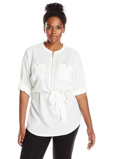 Calvin Klein Women's Plus-Size Solid Tunic Roll Sleeve Blouse