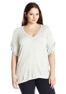 Calvin Klein Women's Plus Size S/S V-Neck Slub Sweater