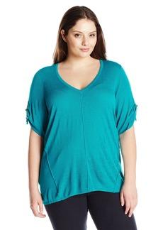 Calvin Klein Women's Plus Size S/s V-Neck Slub Sweater