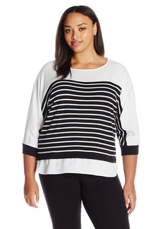 Calvin Klein Women's Plus Size Stripe Sweater with Woven Trim