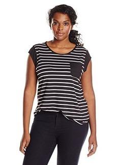 Calvin Klein Women's Plus-Size Striped One Pocket Tee
