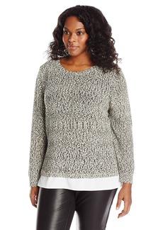 Calvin Klein Women's Plus-Size Sweater Knit with Woven Shirting Black/White