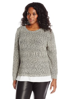 Calvin Klein Women's Plus-Size Sweater Knit with Woven Shirting  0X