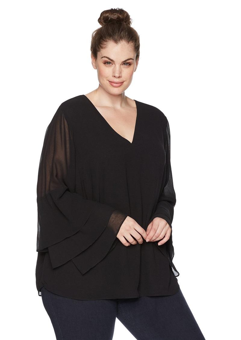 Calvin Klein Women's Plus Size Tier Ruffle Sleeve Blouse