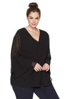 Calvin Klein Women's Plus Size Tier Ruffle Sleeve Blouse