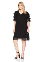 Calvin Klein Women's Plus Size Tiered Sleeved V-Neck Chiffon Shift Dress