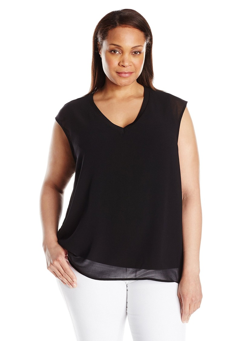 Calvin Klein Women's Plus Size V-Neck Chiffon Layer Top