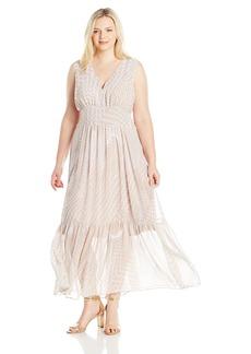Calvin Klein Women's Plus Size V-Neck Chiffon Printed Maxi Dress