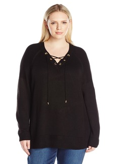 Calvin Klein Women's Plus Size V-Neck Lace up Sweater
