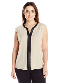 Calvin Klein Women's Plus-Size V-Neck Tank with Faux Leather and Chain