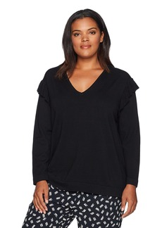 Calvin Klein Women's Plus Size V-NK Sweater With Ruffle AT Sleeve