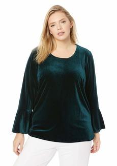Calvin Klein Women's Plus Size Velvet Long Bell Sleeve Blouse