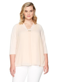 Calvin Klein Women's Plus Size Vneck Top W/bar