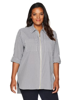 Calvin Klein Women's Plus Size Zip Front Stripe Blouse