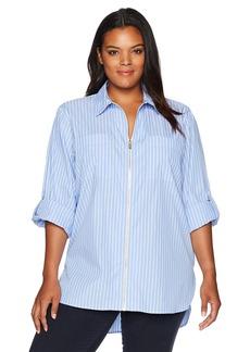 6a3f5fe7eb8 Calvin Klein Women s Plus Size Zip Front Striped Blouse