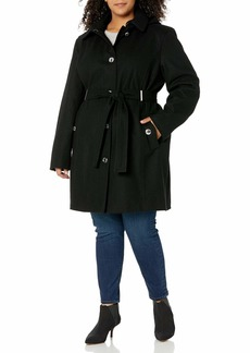 Calvin Klein Womens Plus Sized Wool with Button Front and Belt BLK