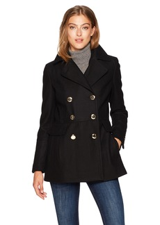 Calvin Klein Women's Polished Wool Coat With Button Detail  L