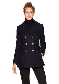 Calvin Klein Women's Polished Wool Coat with Button Detail  S