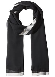 Calvin Klein Women's Pop Color Satin Border Chiffon Scarf Accessory -grey
