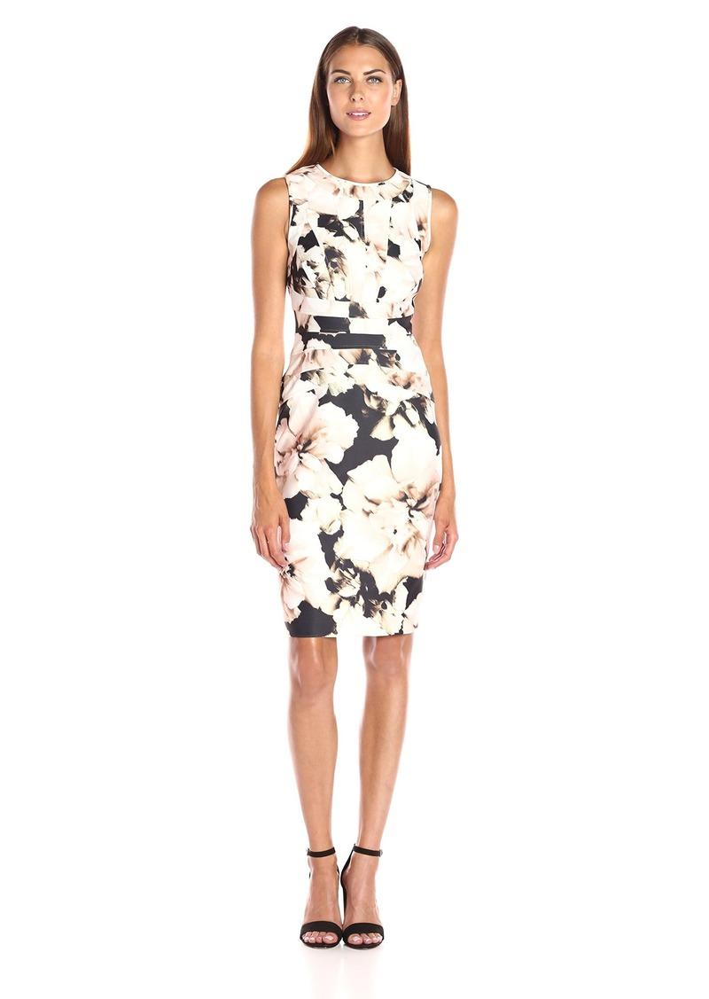 Calvin Klein Women's Print Dress W/Chain Detail Latte Multi CKSP