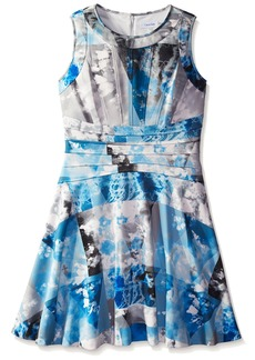 Calvin Klein Women's Print Flare Dress with Seaming Layerd Blue Cksp
