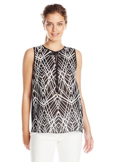 Calvin Klein Women's Print Linen Top W/Solid Back