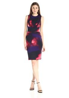 Calvin Klein Women's Print Seamed Sheath Dress Night/Rouge CKSP
