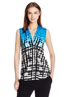 Calvin Klein Women's Printed Blouse W/Inverted Pleat  L