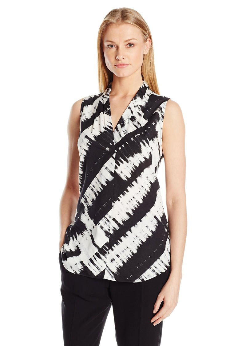 Calvin Klein Women's Printed Blouse with Inverted Pleat Blk/Wht Gss CKSP XS